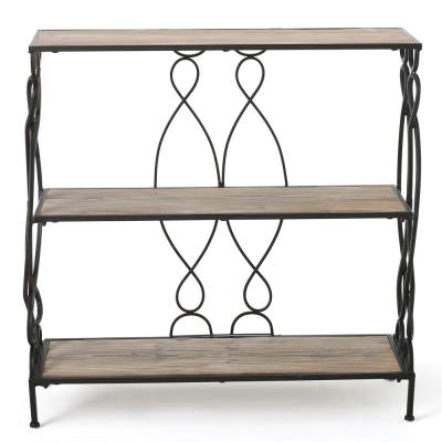 Mia 34.00 in. Natural Brown Wood 3-Shelf Etagere Bookcase