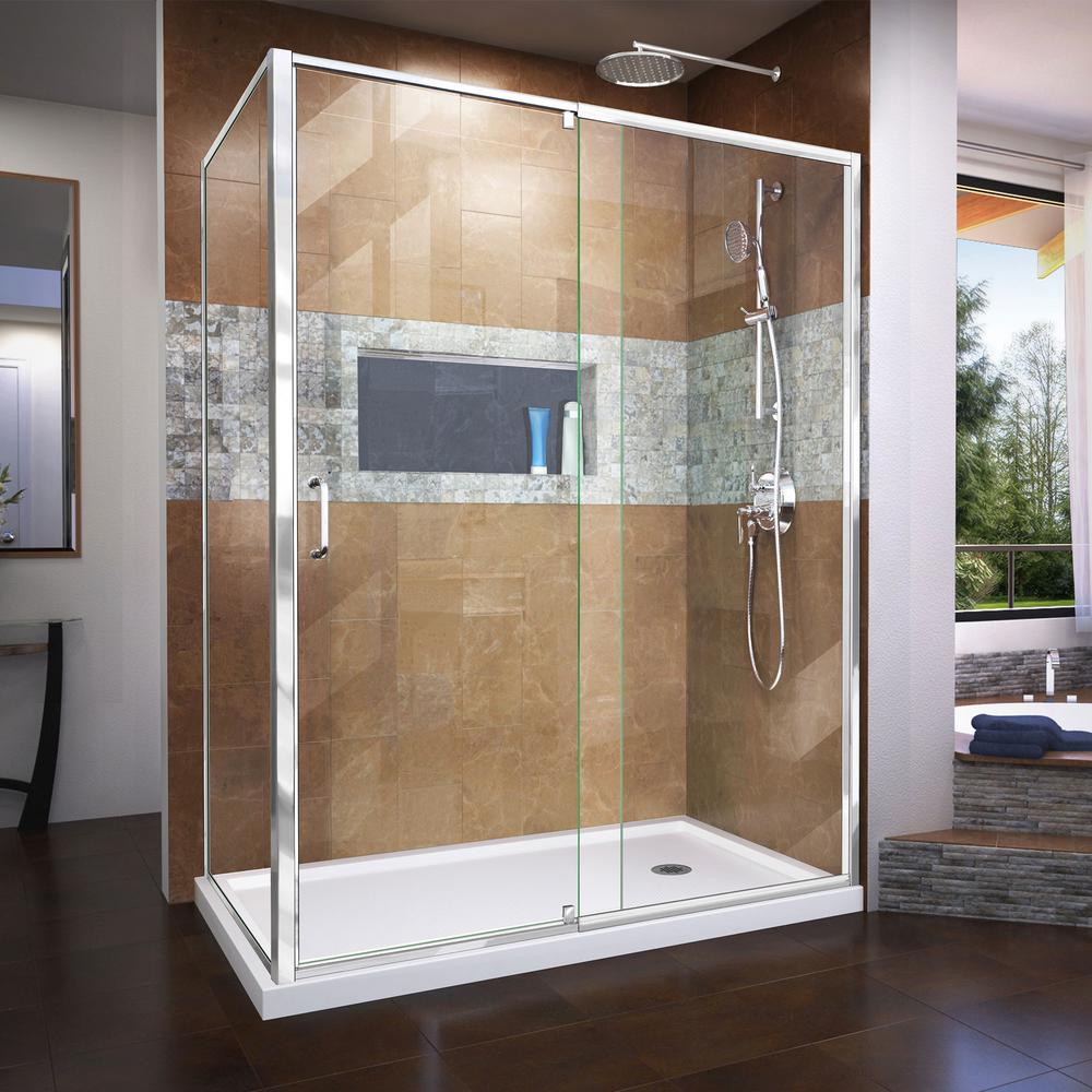 DreamLine Flex 60 in. x 74.75 in. Semi-Frameless Pivot Shower ...