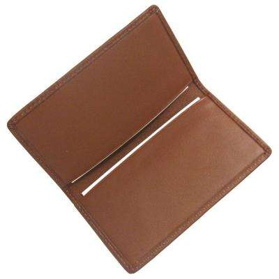 Tan Business Card Case in Genuine Leather