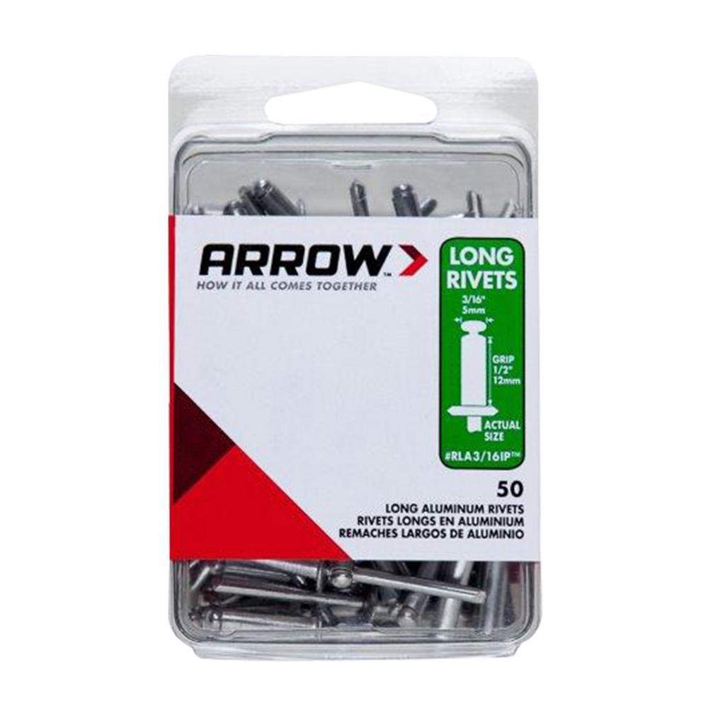 Arrow 3/16 in. x 1/2 in. Aluminum Grip Range Rivets (50-Pack)