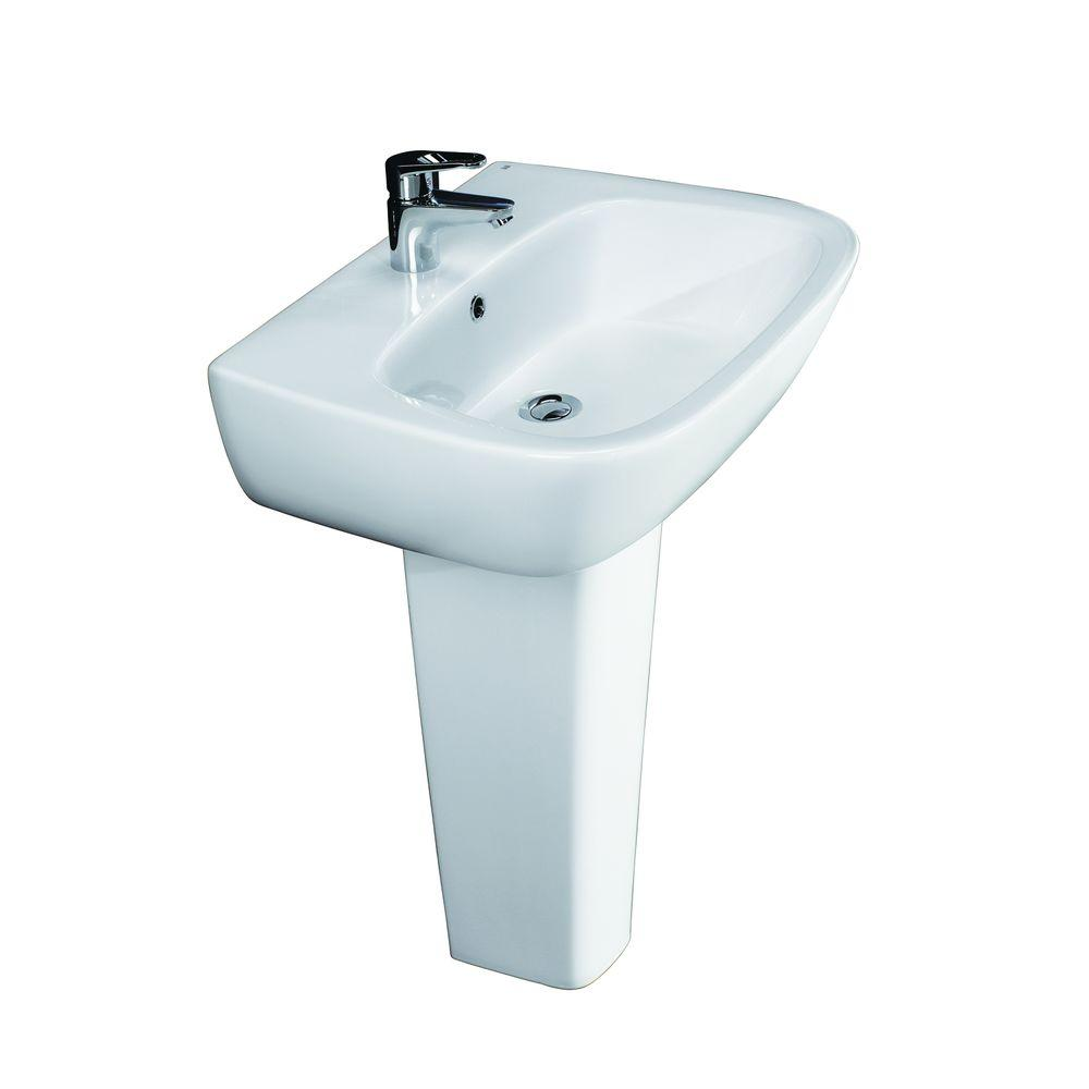 Barclay Products Elena 600 Pedestal Combo Bathroom Sink in White