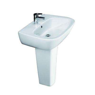 Elena 600 Pedestal Combo Bathroom Sink in White