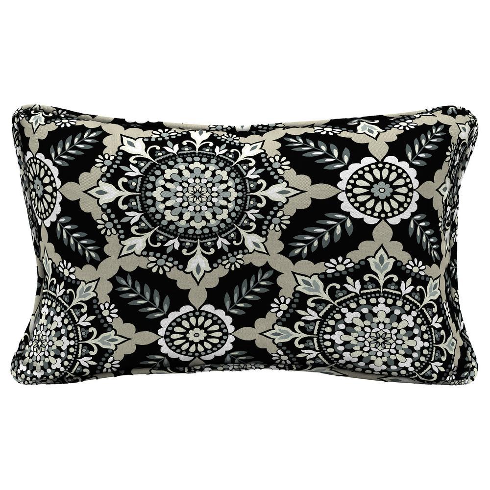 Hampton Bay Black Tile Lumbar Outdoor Throw Pillow Tj1h108b 9d4