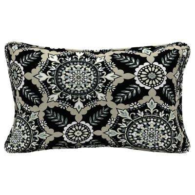 Black Tile Lumbar Outdoor Throw Pillow