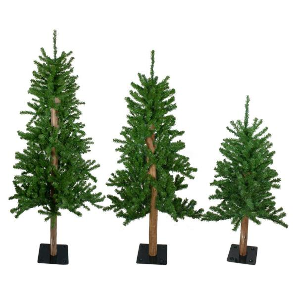 4 ft. 5 ft. and 6 ft. Unlit Alpine Artificial Christmas Trees (Set of 3)