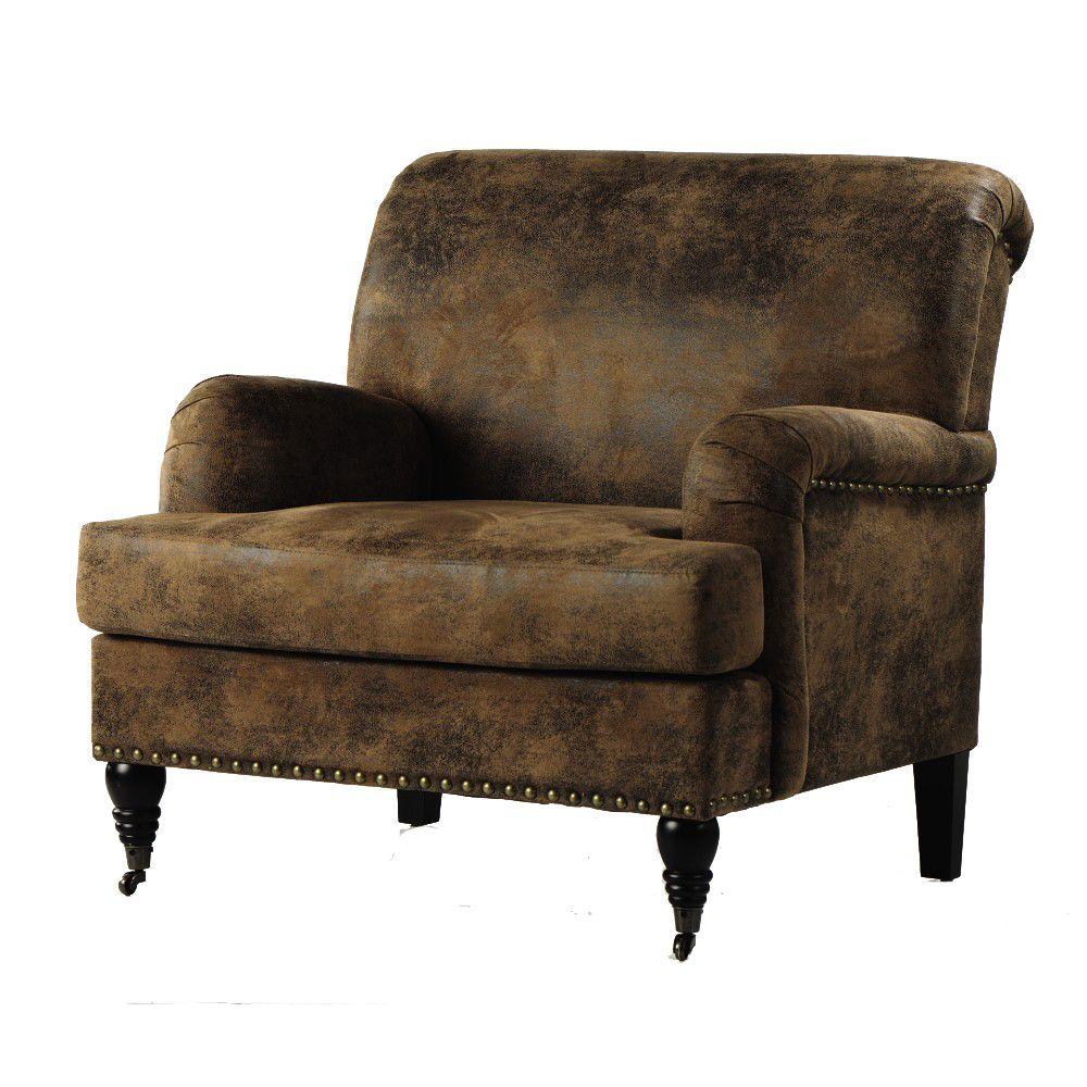 Home Decorators Collection Lauren 35.5 in. W Faux Brown Suede Armchair
