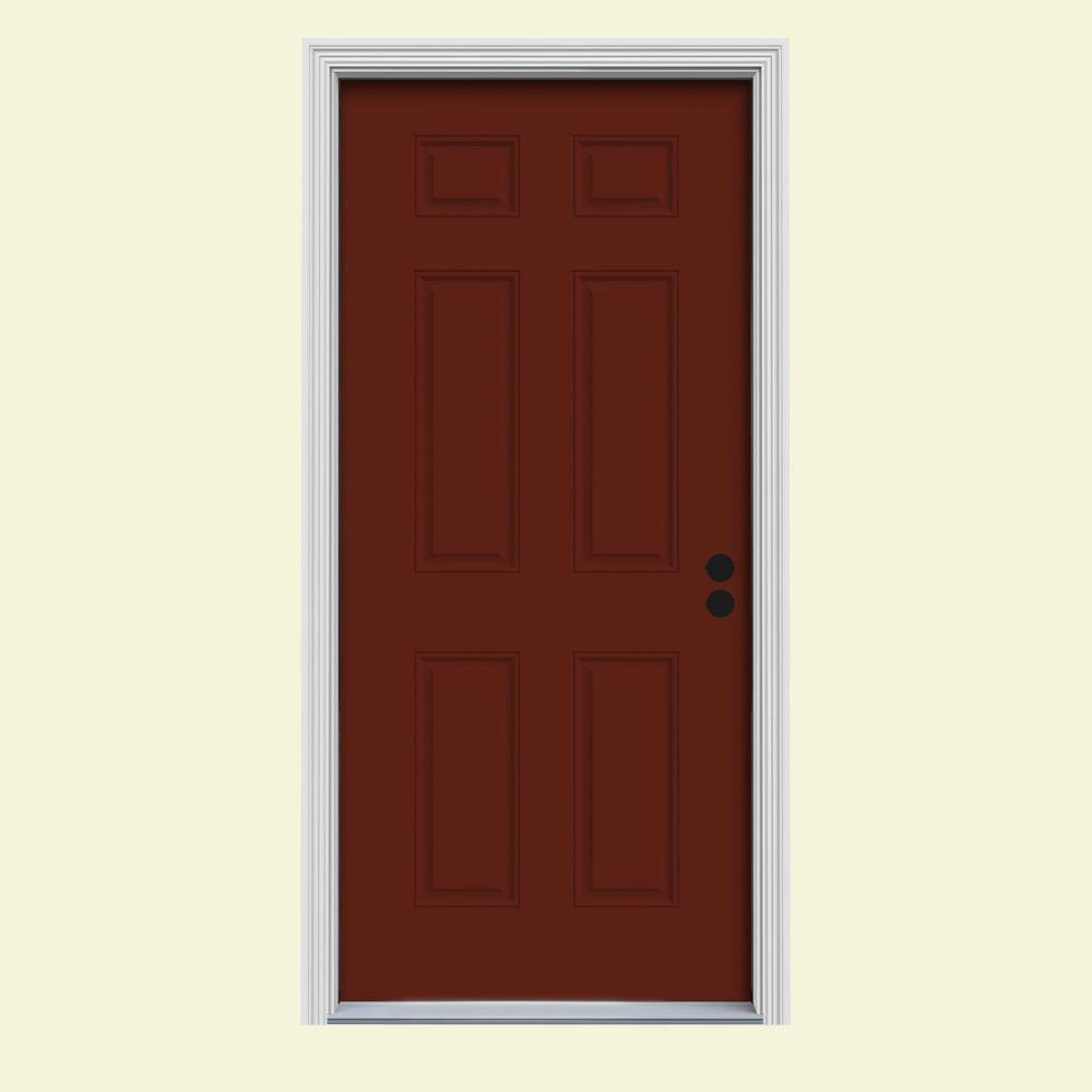 jeld wen front doorsJELDWEN 36 in x 80 in 6Panel Mesa Red wWhite Interior Steel