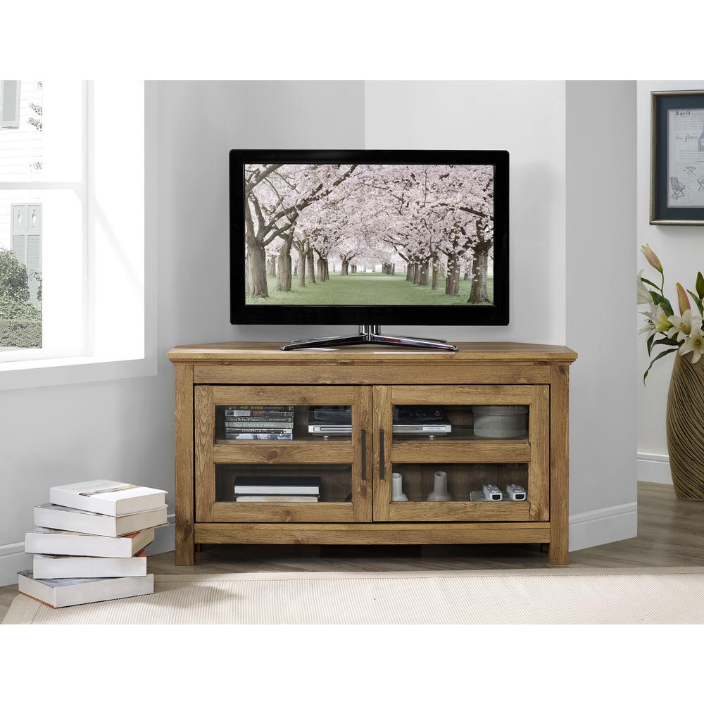Walker Edison Furniture Company 44 In Wood Corner Tv Media Stand Storage Console Barnwood Hdq44ccrbw The Home Depot