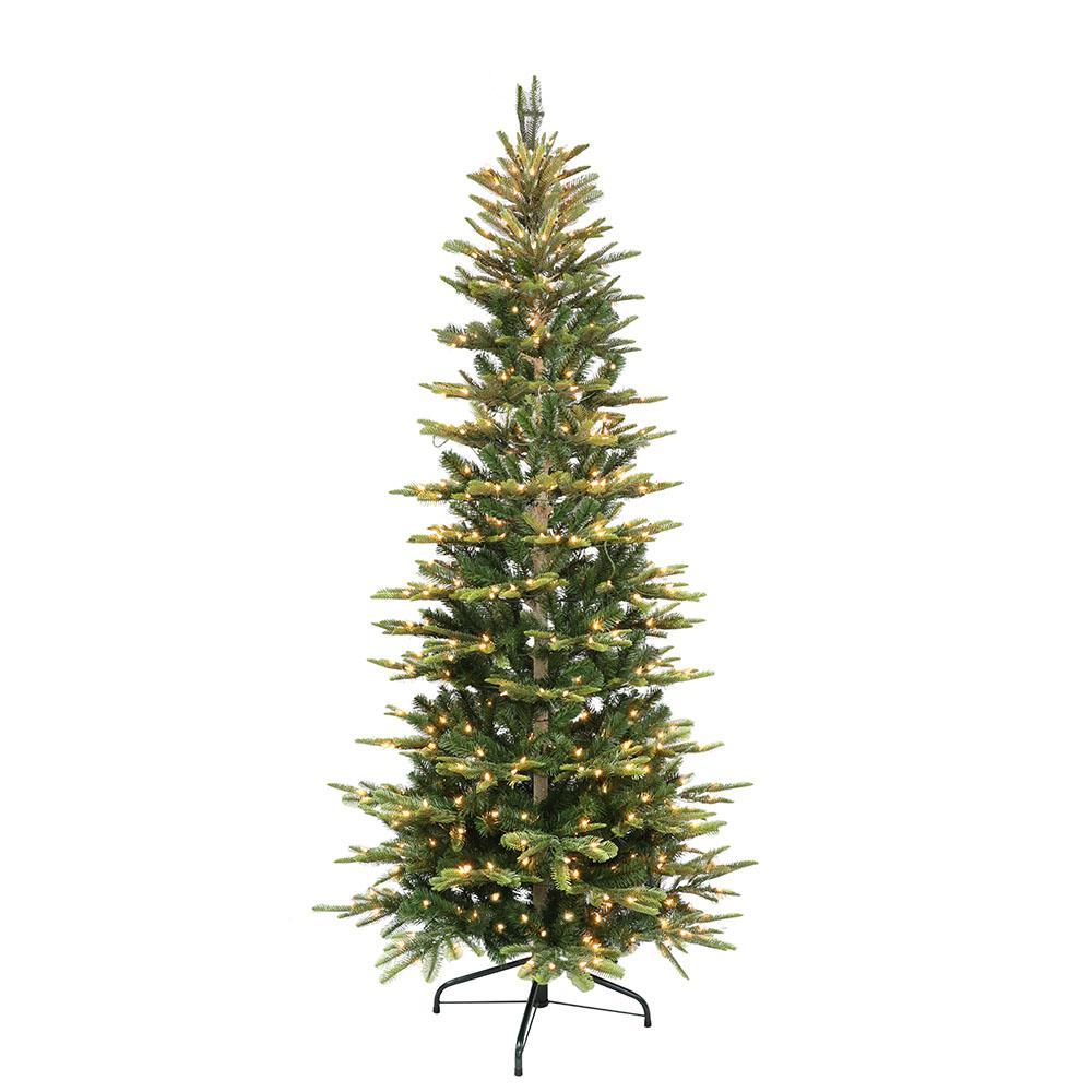 Slim 7 5 Ft Christmas Tree: Puleo International 7.5 Ft. Pre-Lit Slim Flocked Aspen Fir