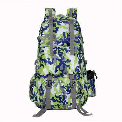 50L Portable Unisex Waterproof Nylon 12 in. Camouflage Green Backpack for Outdoor Activities