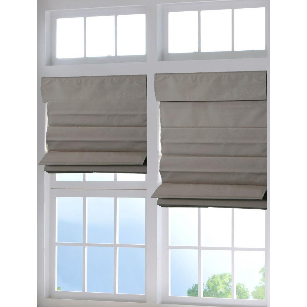 Perfect lift window treatment tan cordless fabric roman for Window shades for home