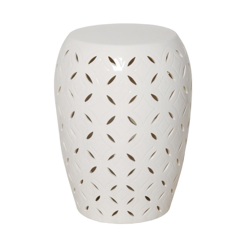Lattice White Ceramic 20 in. Garden Stool