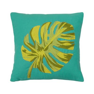 Oasis Teal and Green Floral Down 14 in. x 14 in. Throw Pillow