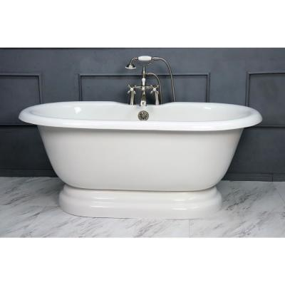 60 in. AcraStone Acrylic Double Pedestal Flatbottom Non-Whirlpool Bathtub and Faucet in Satin Nickel