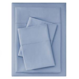 300 Thread Count Easy Care Sateen 4-Piece Full Sheet Set in Washed Denim