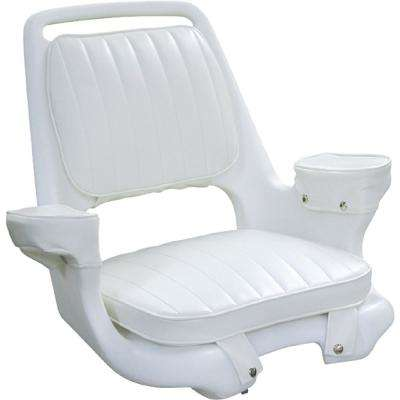 Captain's Chair Package with Chair Cushion Set and Mounting Plate  White