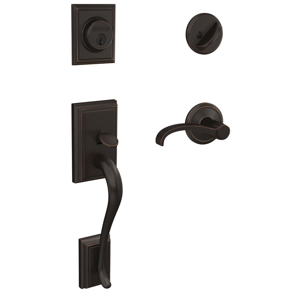 Schlage Plymouth Aged Bronze Entry Door Handle With Left