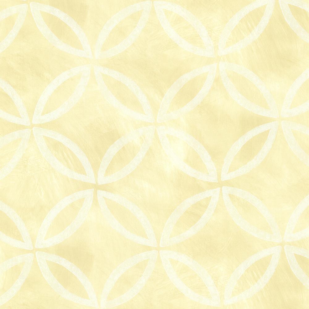 Brewster yellow cloverleaf geometric wallpaper sample for Yellow wallpaper home depot