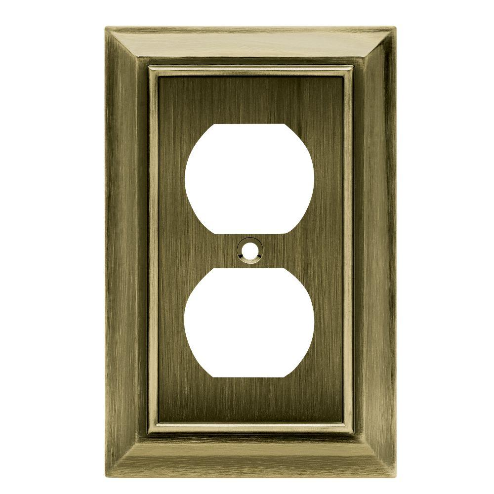 Hampton Bay Architectural Decorative Single Duplex Outlet Cover, Antique  Brass