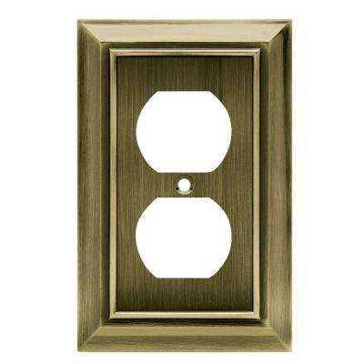 Architectural Decorative Single Duplex Outlet Cover, Antique Brass