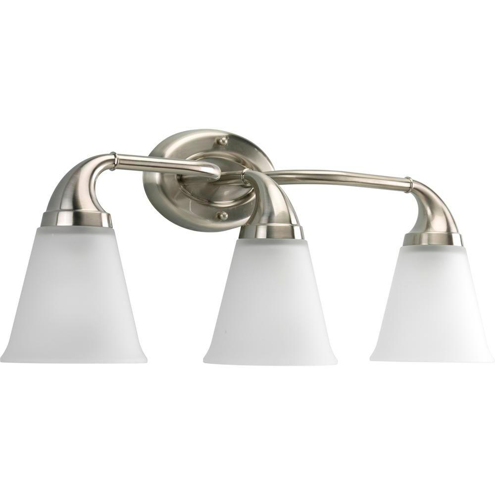 Progress lighting lahara collection 3 light brushed nickel vanity fixture p2760 09 the home depot for Brushed nickel bathroom lighting fixtures