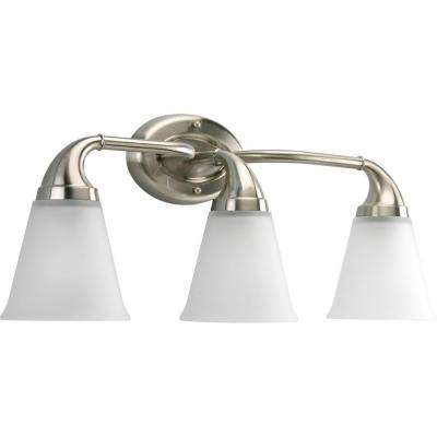 Lahara Collection 3-Light Brushed Nickel Vanity Light with Etched Glass Shades