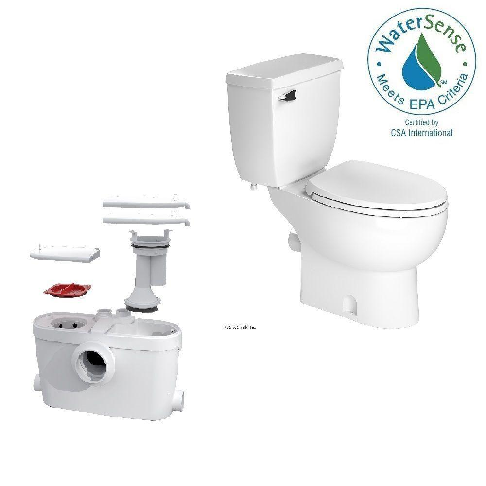 Saniflo SaniAccess3 2-Piece 1.280 GPF Single Flush Elongated Toilet ...