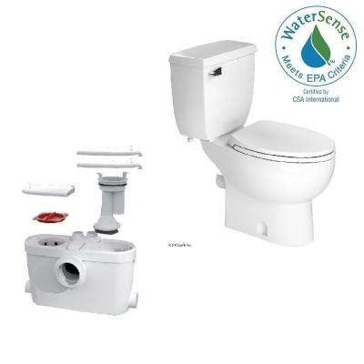 SaniAccess3 2-Piece 1.280 GPF Single Flush Elongated Toilet With .5 HP Macerating Pump in White by SaniFlo