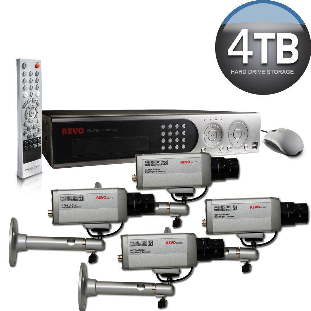 Revo Elite 16 CH 4TB Hard Drive Surveillance System with (4) 600TVL Box Indoor Cameras - DISCONTINUED