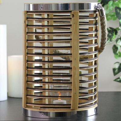 11.5 in. Rustic Chic Rattan Lantern Candle Holder