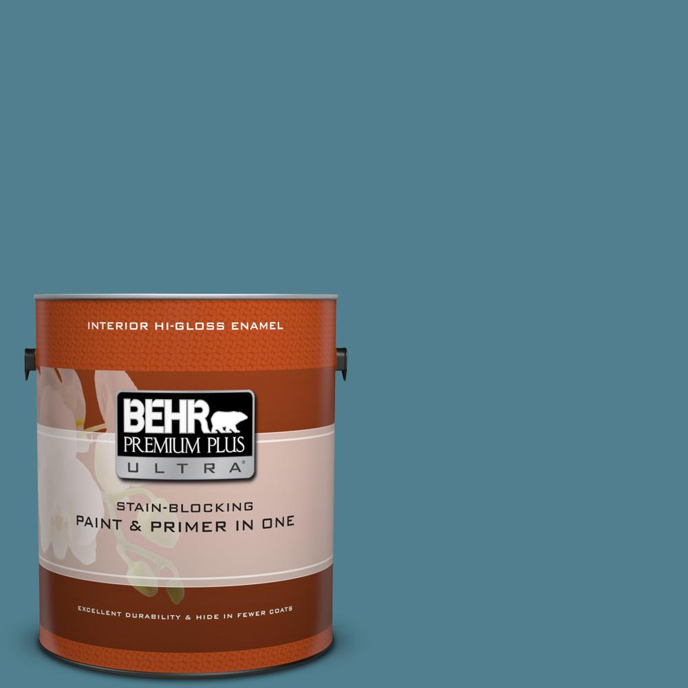 1 gal. #BXC-36 Aegean Blue Hi-Gloss Enamel Interior Paint