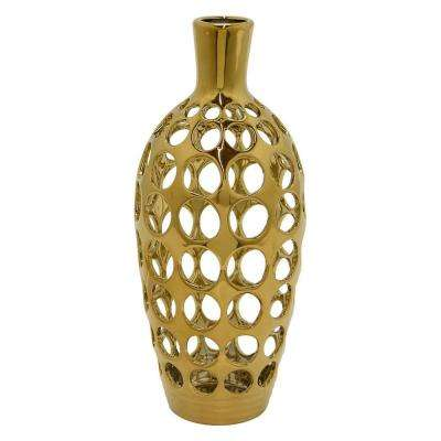 4.75 in. Gold Ceramic Pierced Decorative Vase