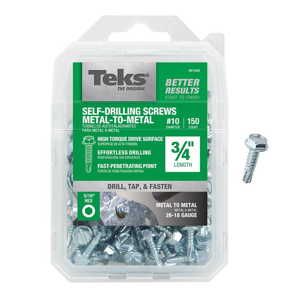 #10 x 3/4 in. External Hex Flange Hex-Head Self-Drilling Screws (150-Pack)