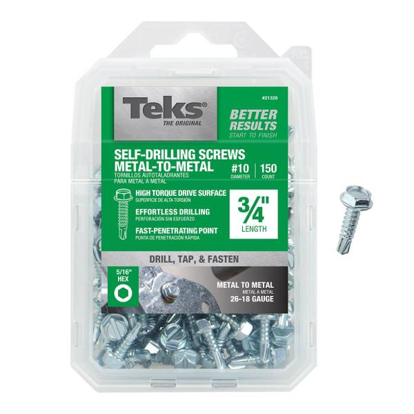 Teks 8 3 4 In External Hex Flange Hex Head Self Drilling Screws 180 Pack 21312 The Home Depot