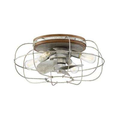 Junction 22 in. Indoor Galvanized Ceiling Fan with Light and Remote Control