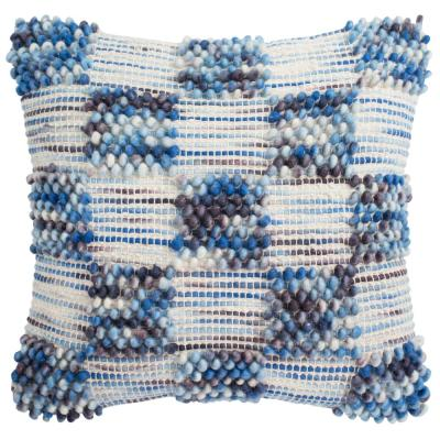 Azure Blue Geometric Down Alternative 20 in. x 20 in. Throw Pillow