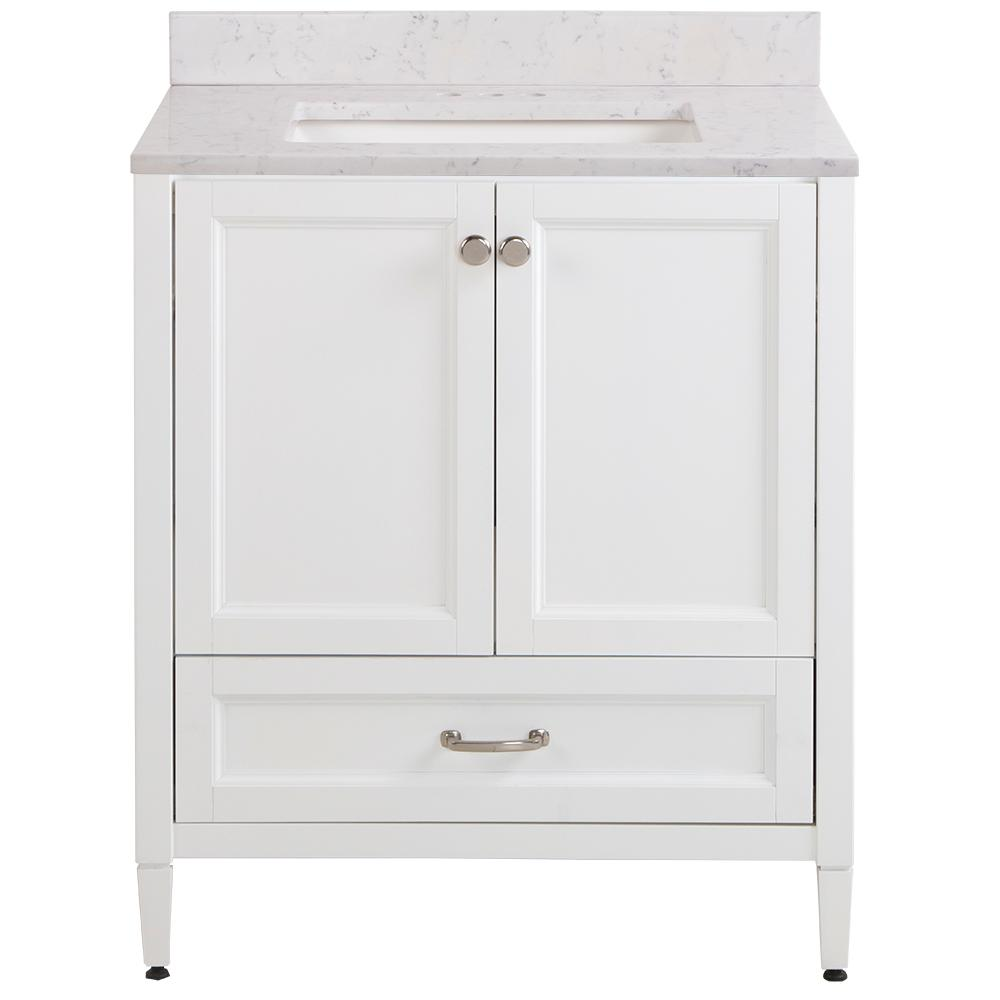 Home Decorators Collection Claxby 31 in. W x 22 in. D Bathroom Vanity in White with Stone Effect Vanity Top in Pulsar with White Sink