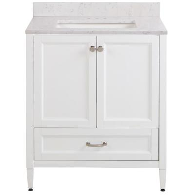 Claxby 31 in. W x 22 in. D Bathroom Vanity in White with Stone Effect Vanity Top in Pulsar with White Sink