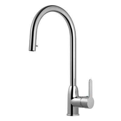 Centa Single-Handle Hidden Pull Down Sprayer Kitchen Faucet with CeraDox Technology in Polished Chrome