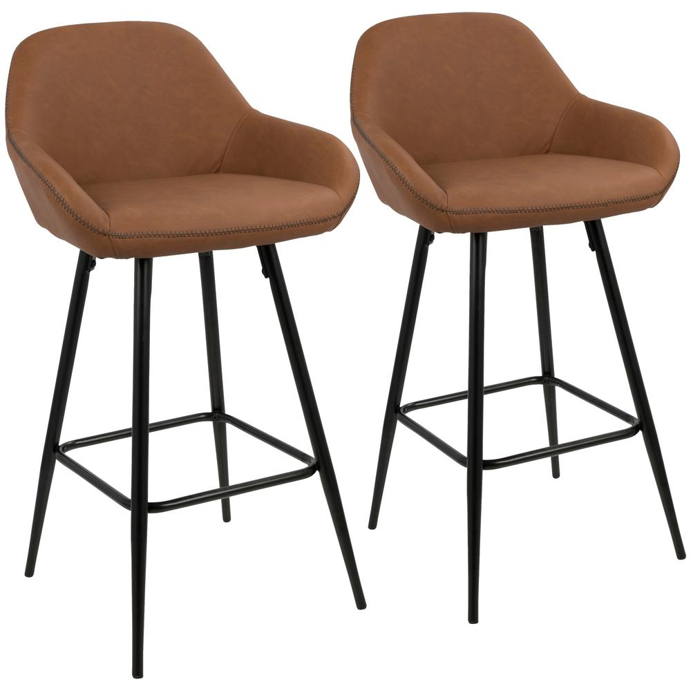 Black Metal Bar Stool With Brown Microfiber Seat By: Lumisource Clubhouse 26 In. Black And Brown Vintage Faux