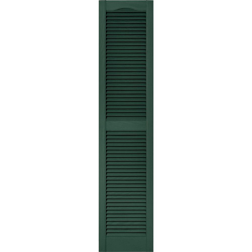 Builders Edge 15 in. x 67 in. Louvered Vinyl Exterior Shutters Pair in #028 Forest Green