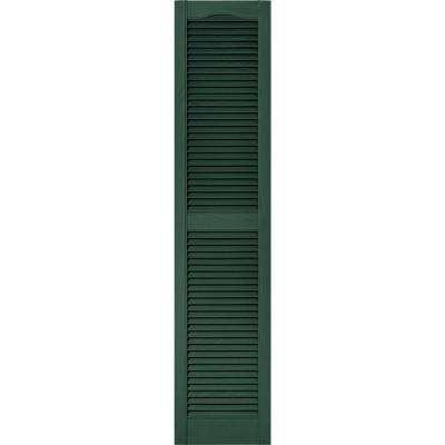 15 in. x 67 in. Louvered Vinyl Exterior Shutters Pair in #028 Forest Green