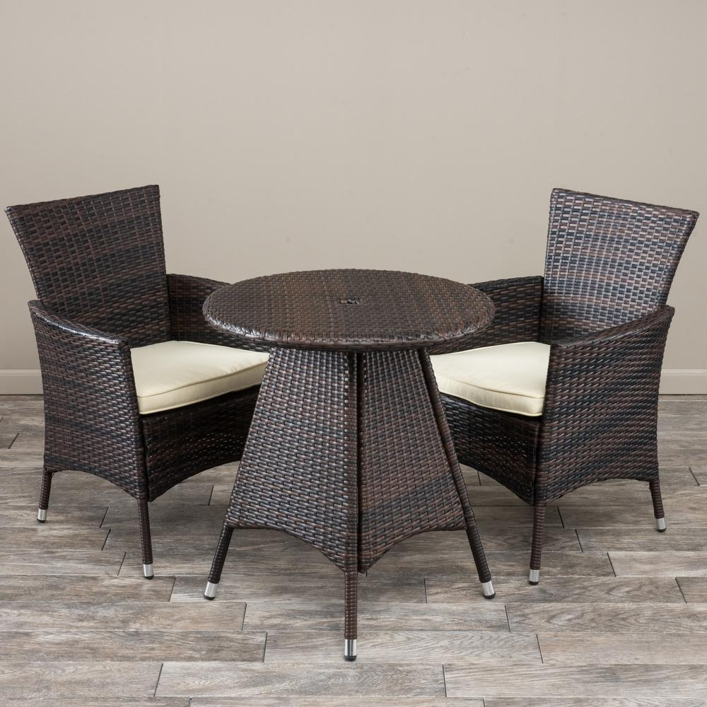 a8cff6e04a Noble House Melissa Multi-Brown 3-Piece Wicker Round Outdoor Bistro Set  with Creme