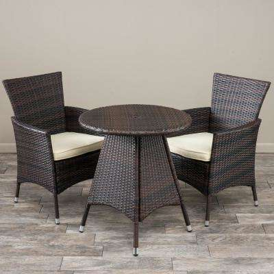 Melissa Multi-Brown 3-Piece Wicker Round Outdoor Bistro Set with Creme Cushions