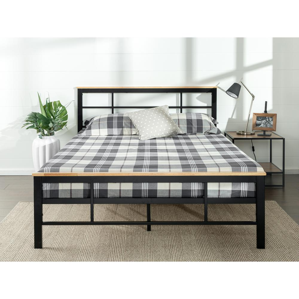 Zinus urban metal and wood black queen platform bed frame for Urban home beds