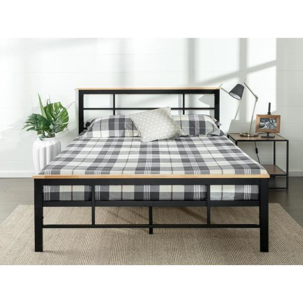 Zinus Marcia Metal and Wood Platform Bed, Queen