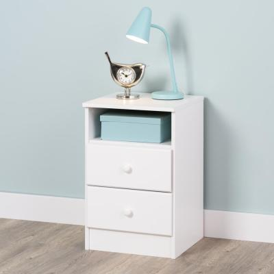 Astrid 2-Drawer White Nightstand
