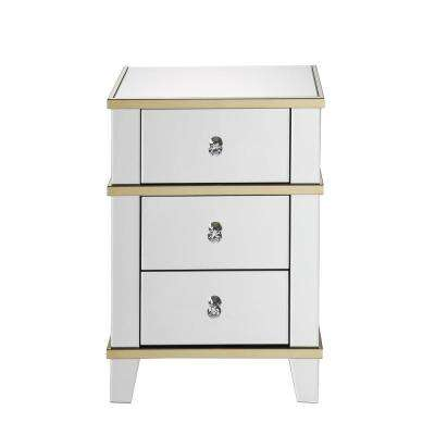 Osma Mirrored and Gold Nightstand