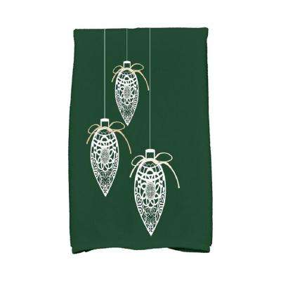 16 in. x 25 in. Dark Green Filagree Ornaments Holiday Geometric Print Kitchen Towel