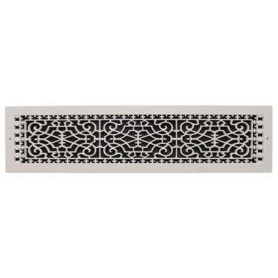 Victorian Wall Mount 6 in. x 30 in. Opening, 8 in. x 32 in. Overall Size, Polymer Decorative Return Air Grille, White